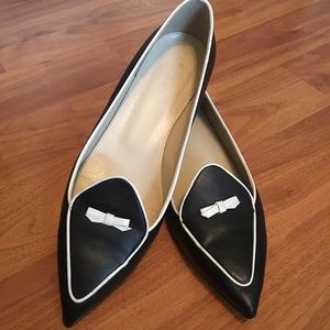 J Crew Black and White Loafers with Bow Detail
